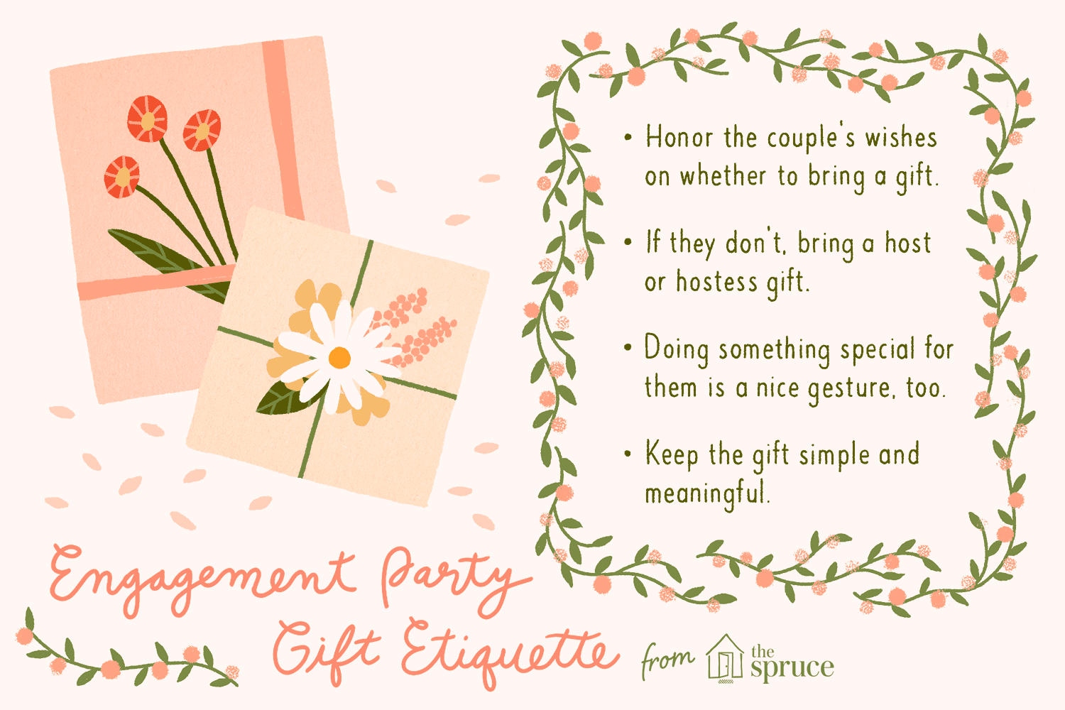 illustration of engagement party gift tips