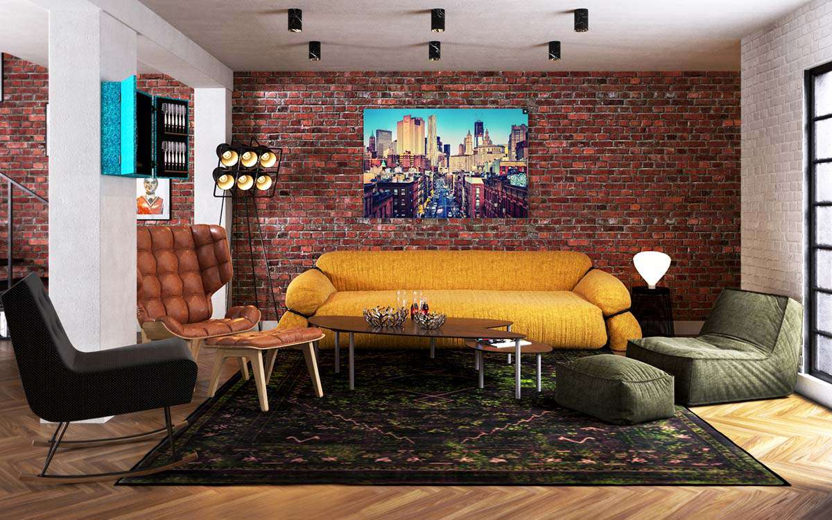 layers of color and texture in London loft