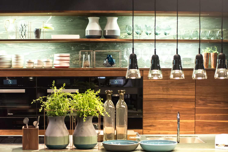 Luces colgando sobre el fregadero junto a plantas en macetas en la cocina