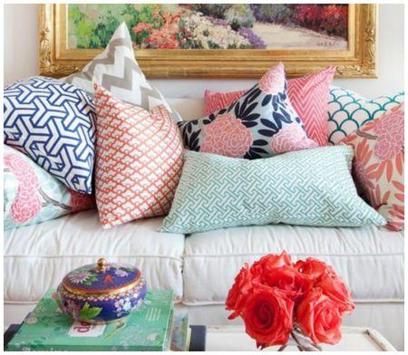 Grey sofa Red Pillows