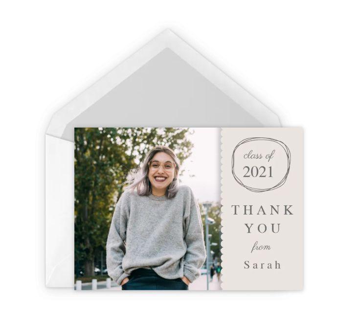 A gray photo graduation thank you card