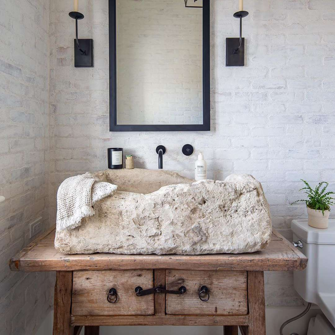 Bathroom with natural stone sink