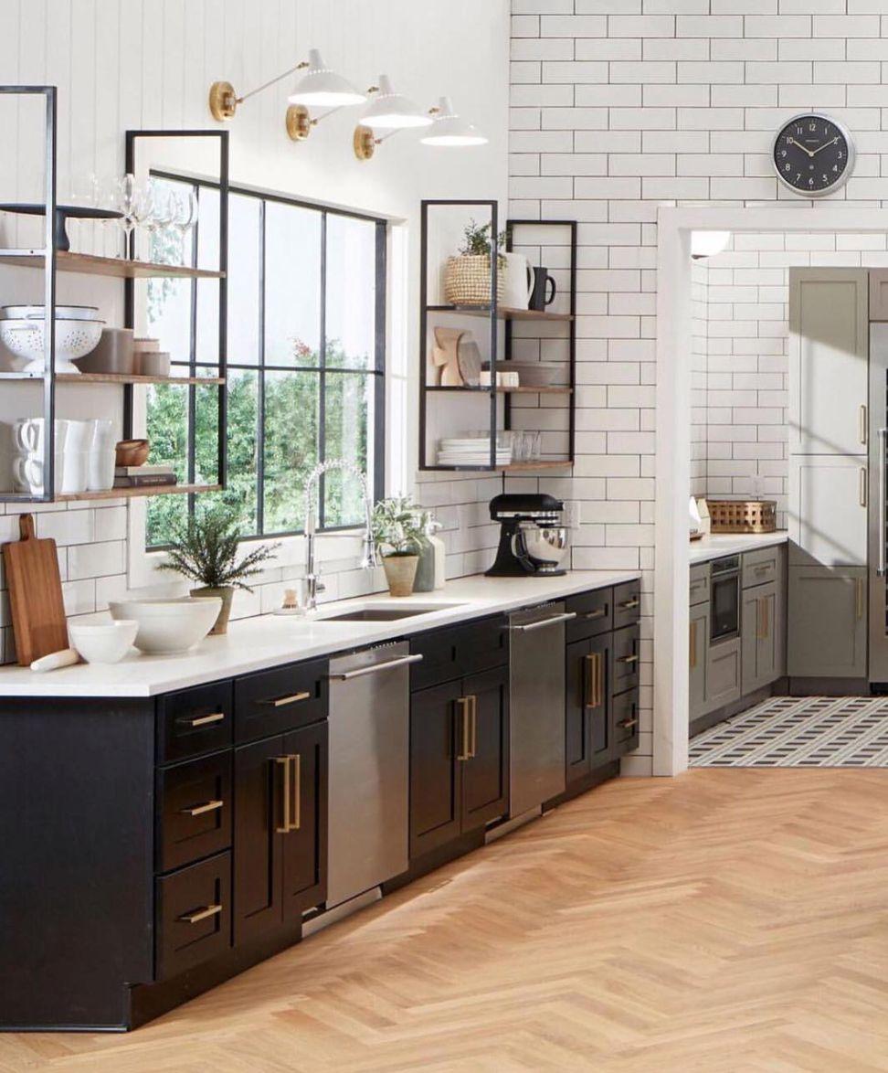 kitchen with wood herringbone floor