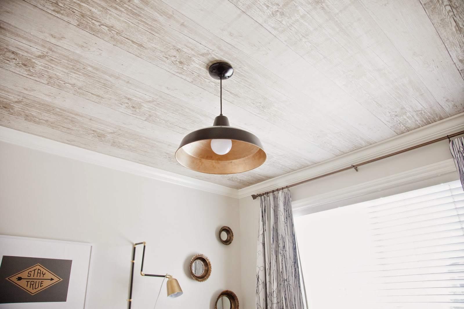 rustic wood wallpaper on ceiling