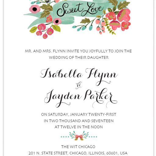 A Modern Fl Free Wedding Invitation Template
