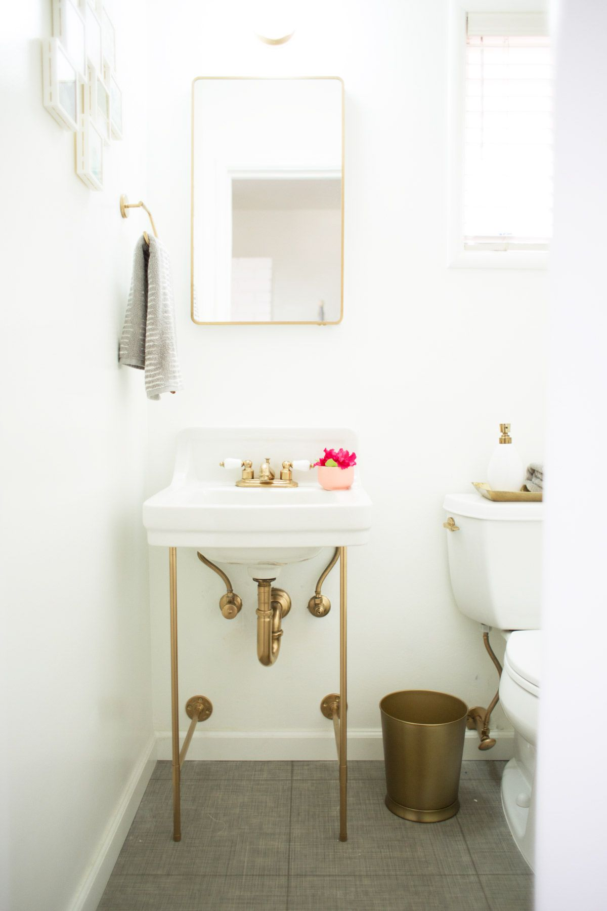 sink with gold legs