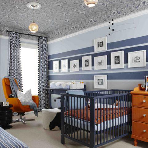 Navy and orange nursery