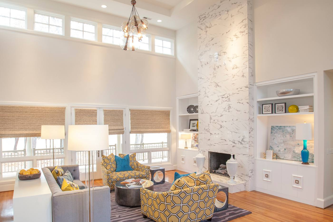 Floor-to-ceiling marble fireplace