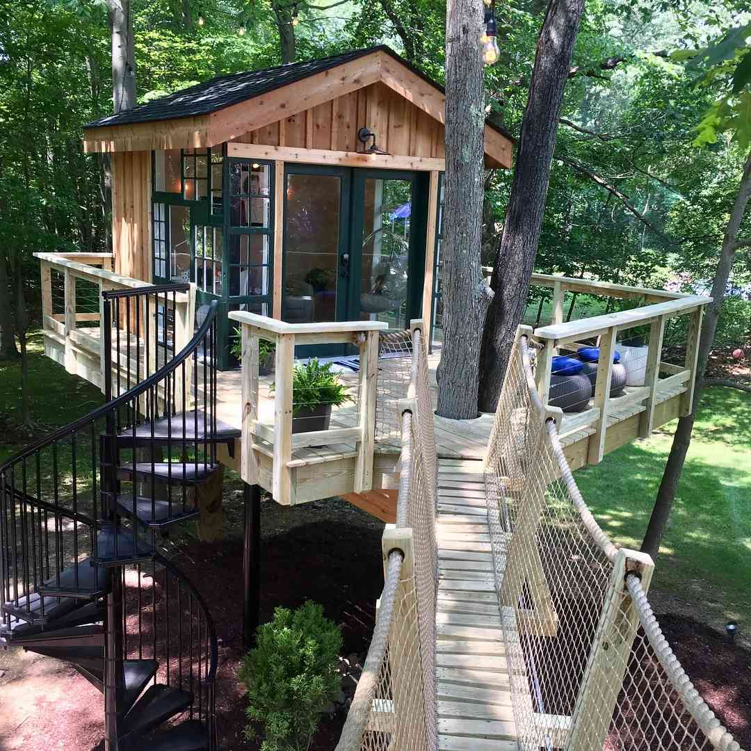 Treehouse with balcony and staircase