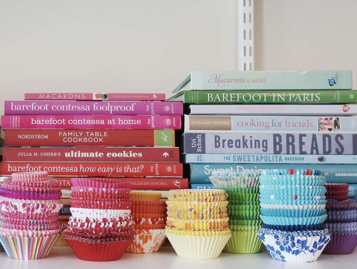 cookbooks arranged by color