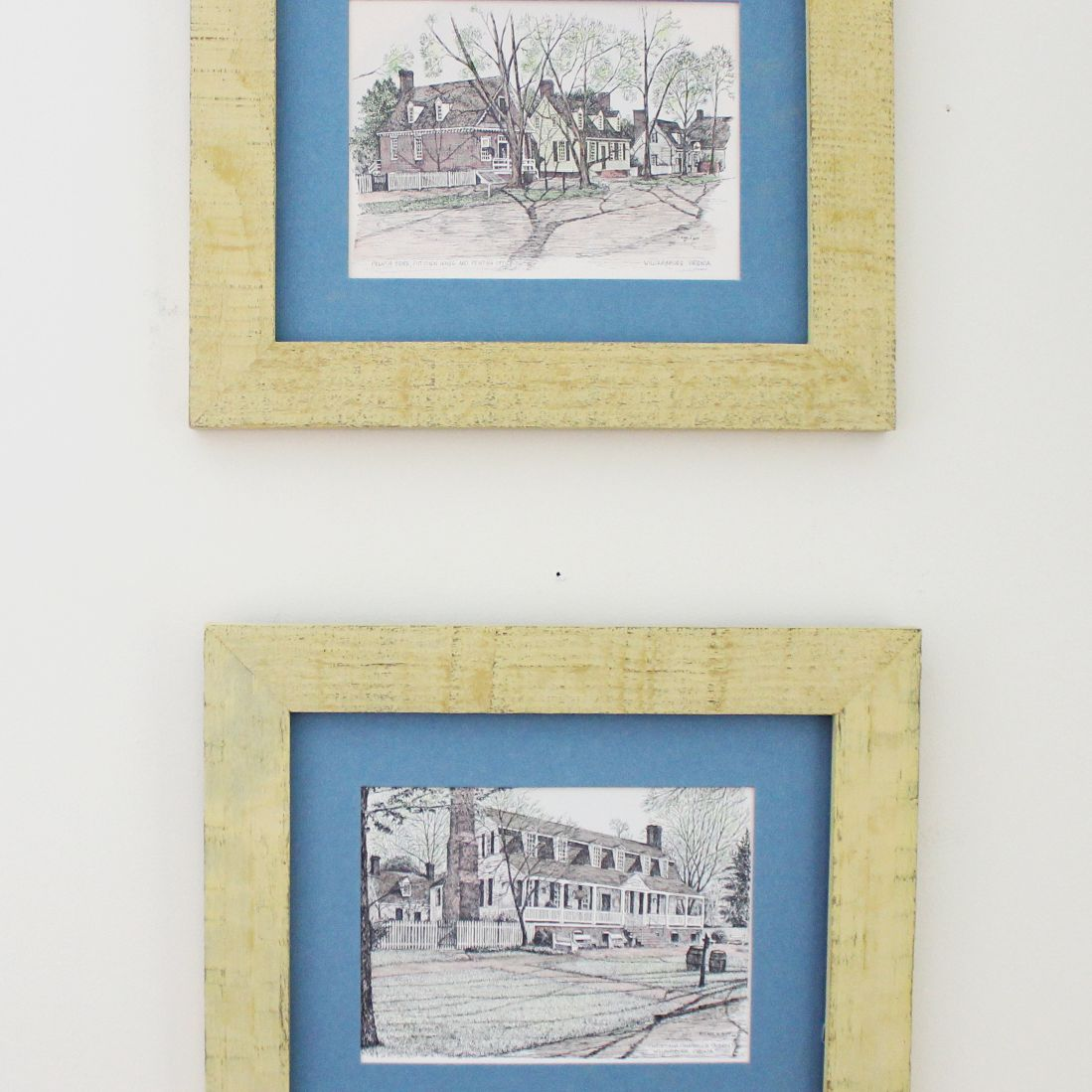 yellow chalk painted picture frames