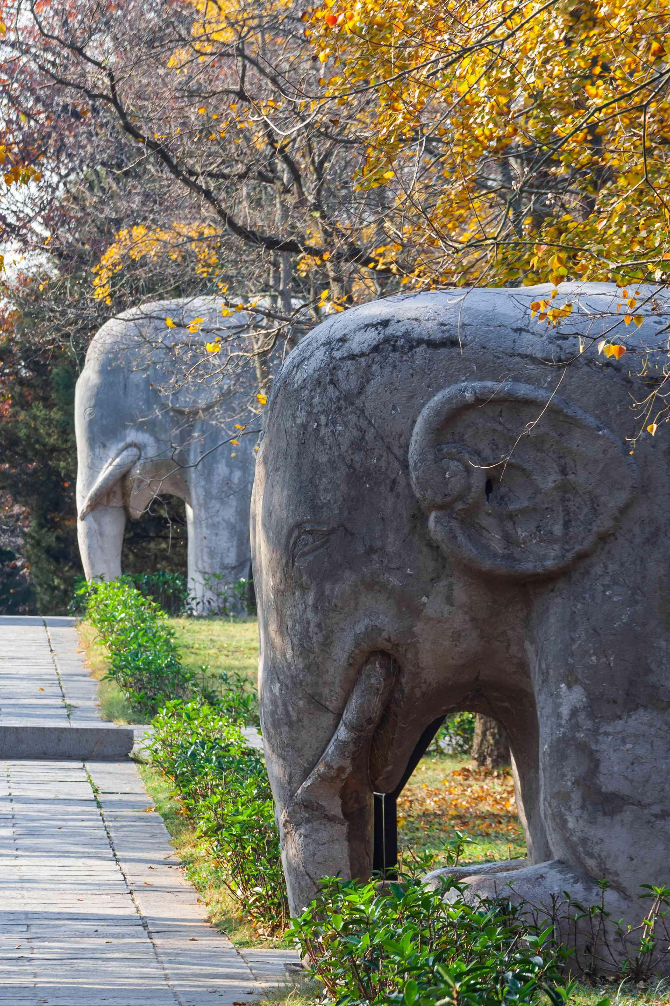 Ming xiaoling stone statue road shendao, a famous historical site in nanjing,jiangsu province, China