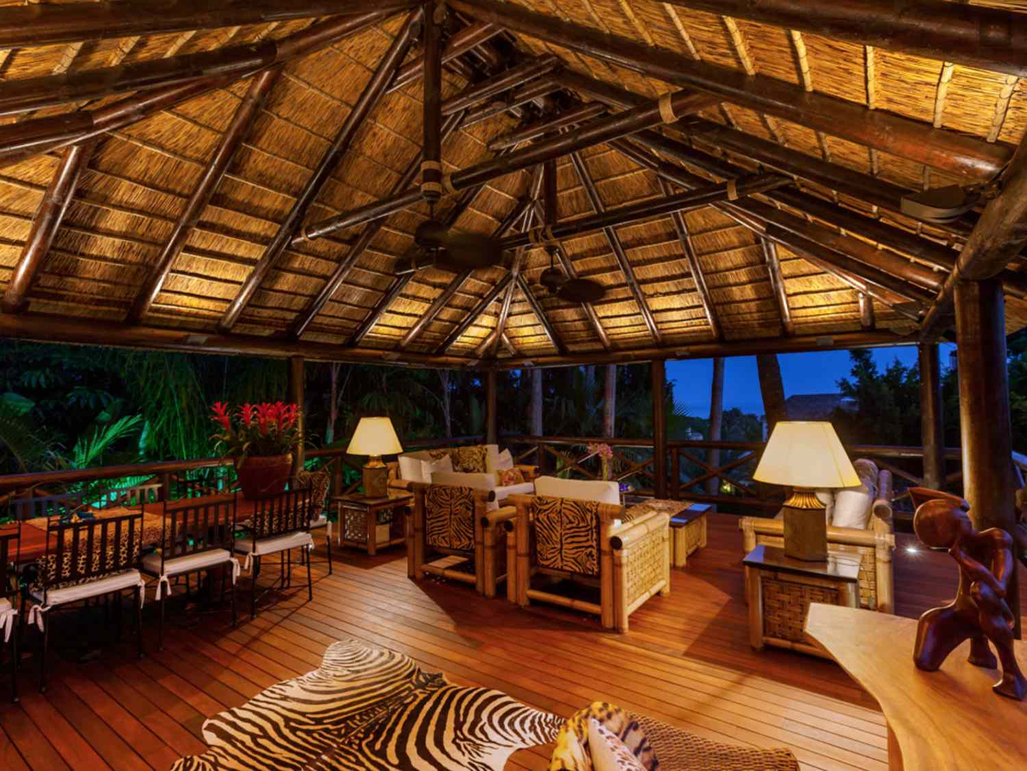 Tropical covered deck outdoor area