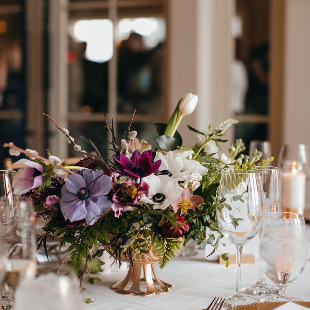Elegant Anemone and Tulip Winter Wedding Centerpiece