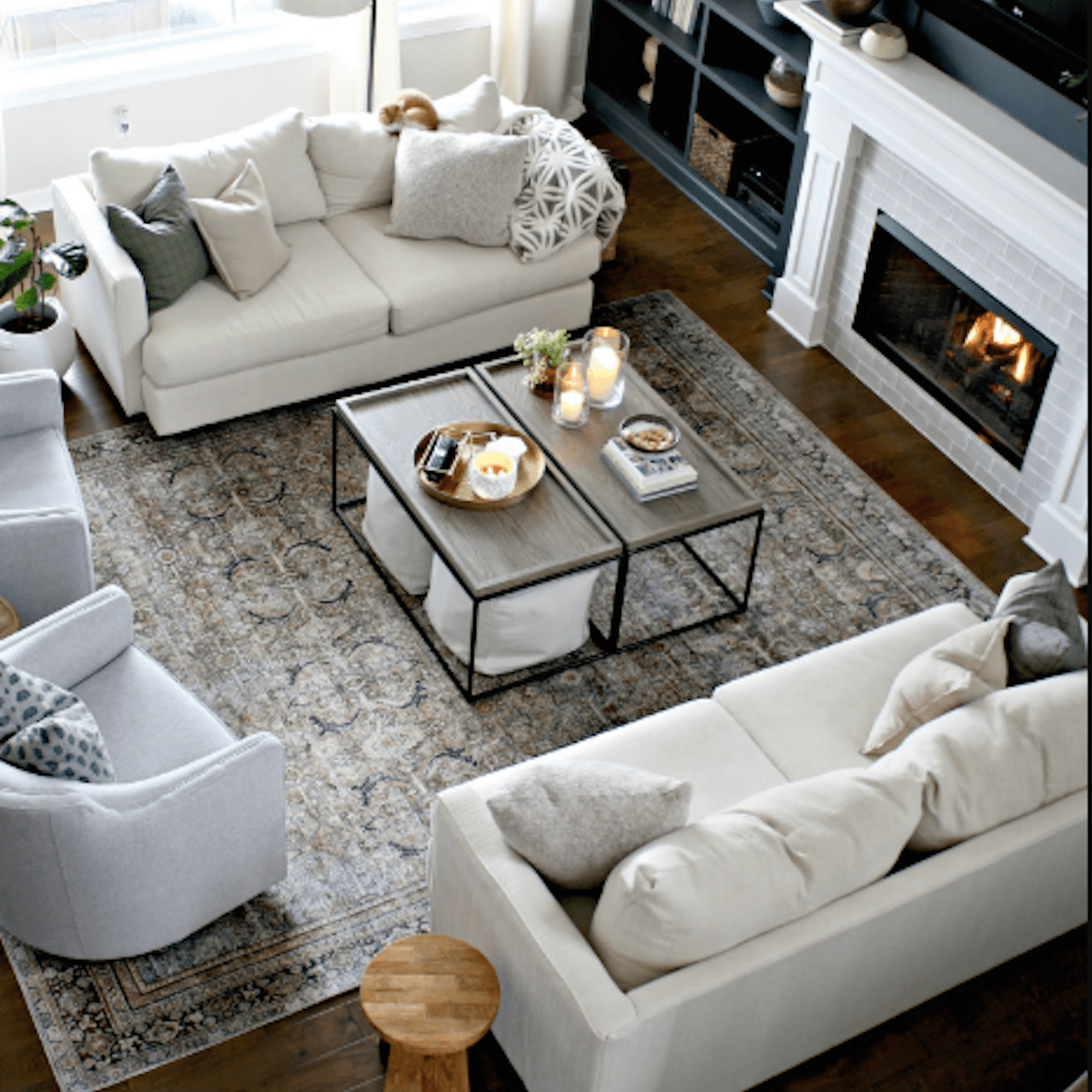cozy great room with white sofas