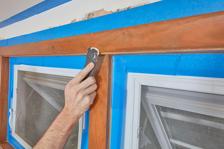 Fill in window trim holes