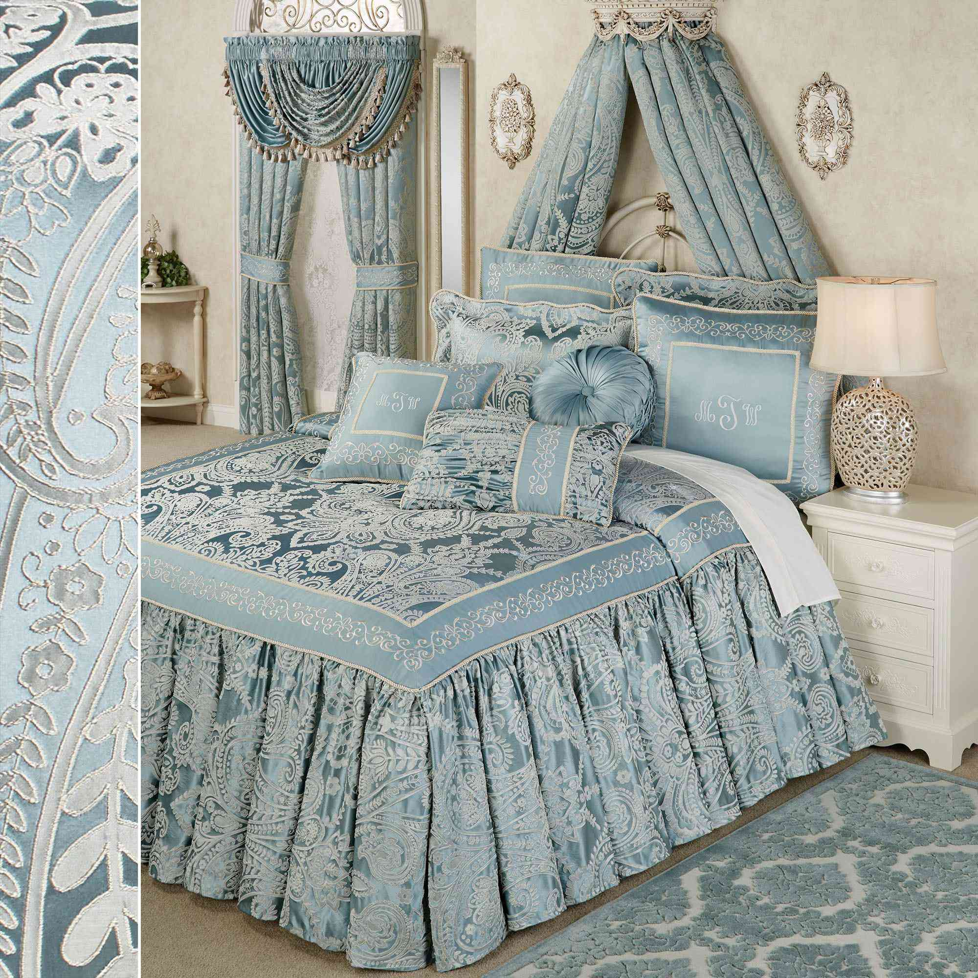 Touch of Classy Regency Parisian Blue Grande Flounce Bedding