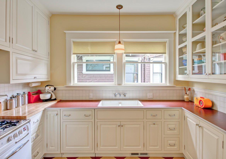 retro kitchen with red laminate countertop
