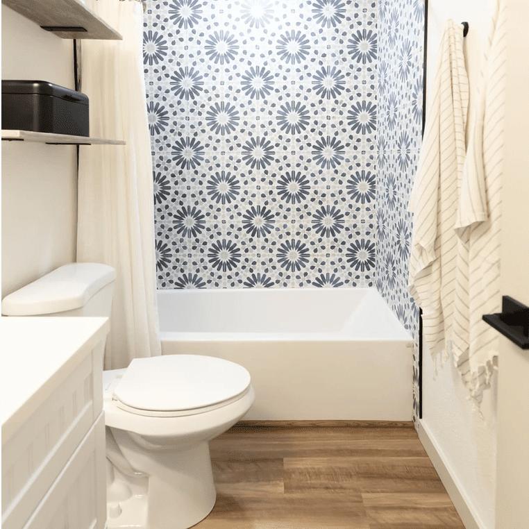 patterned tile in a shower