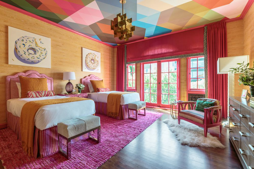 colorful bedroom exploding with color