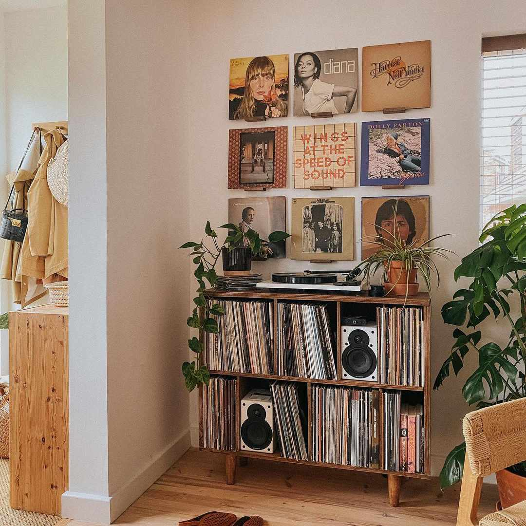 Corner with speakers and a record collection