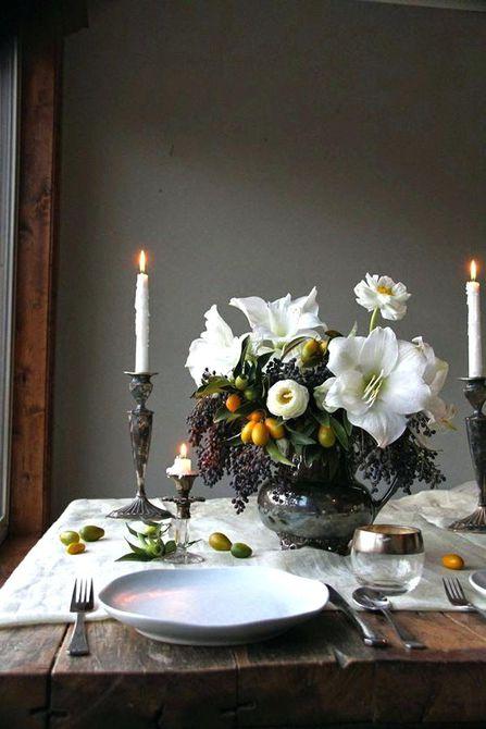 Amaryllis y centro de mesa de boda de invierno de Kumquat