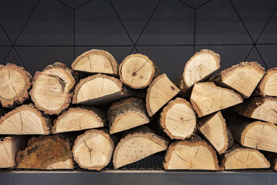 Firewood near fireplace