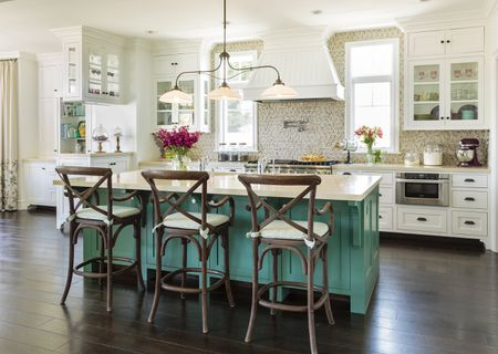 Delicious French Country Kitchen With A Modern Tile Backsplash