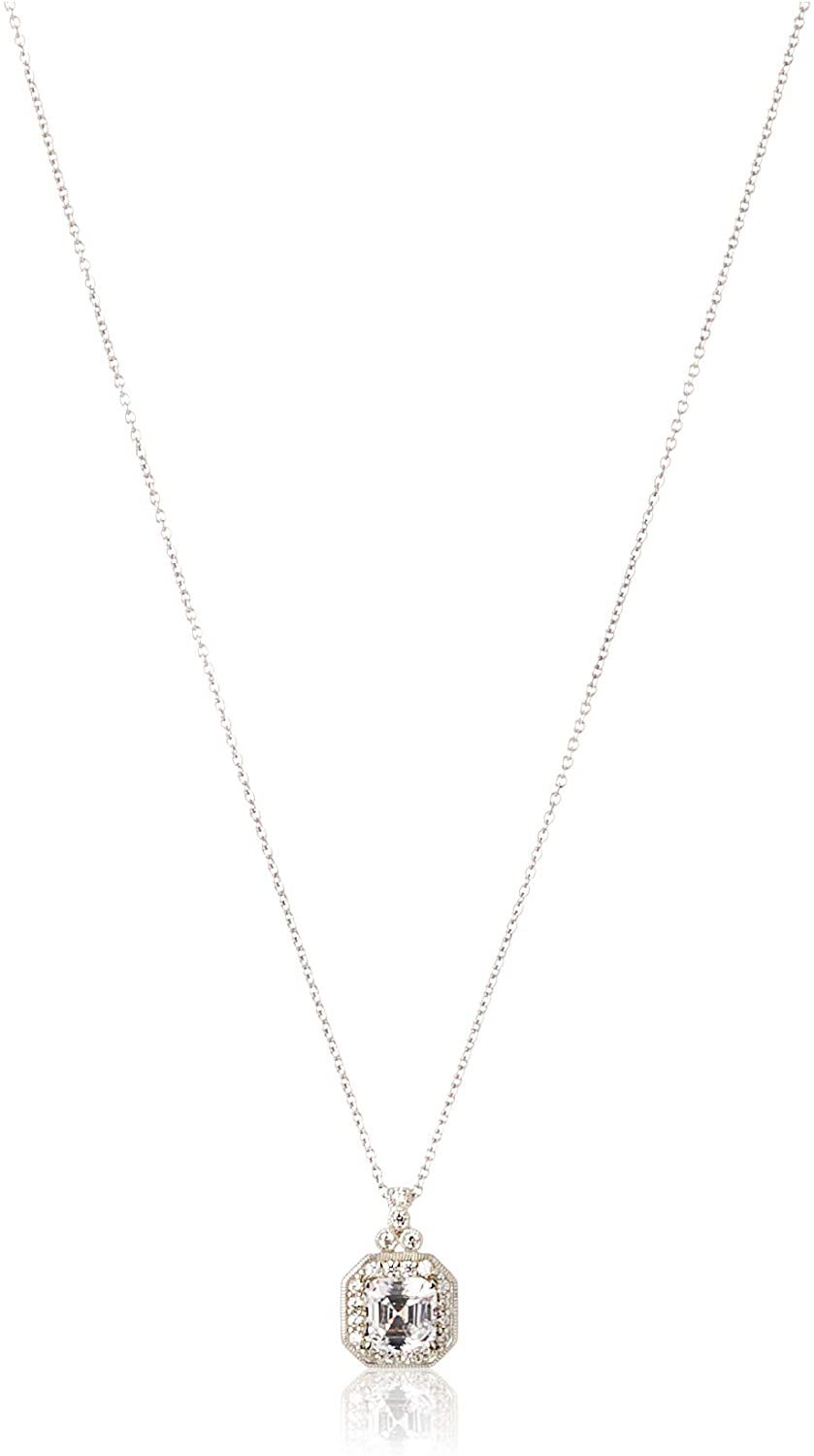 Amazon Collection Platinum-Plated Sterling Silver Swarovski Necklace