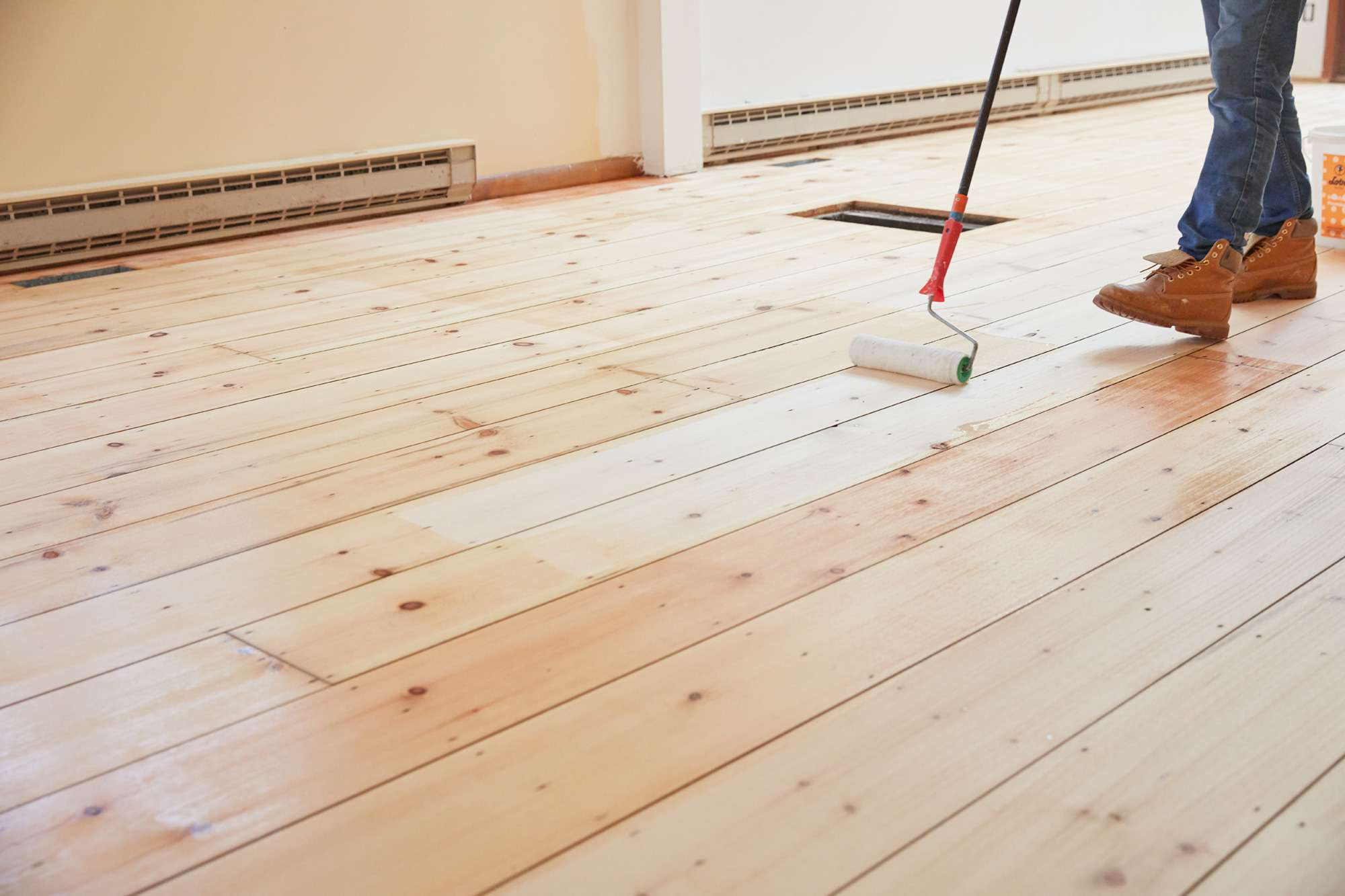 Hardwood floors painted with water or oil-based polyurethane for topcoat
