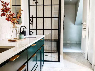 Bathroom with hunter green vanity