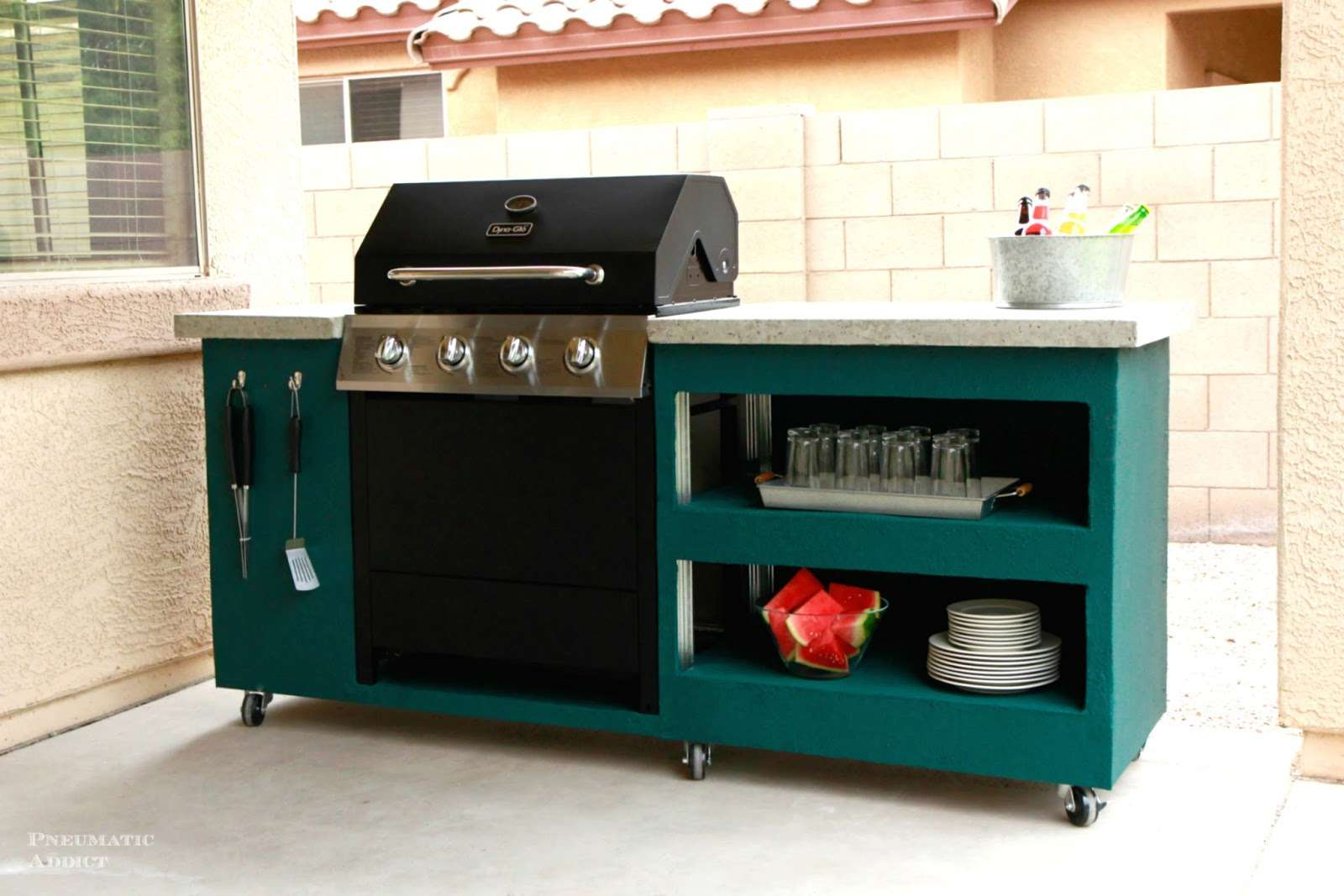 A grill with a custom surround table