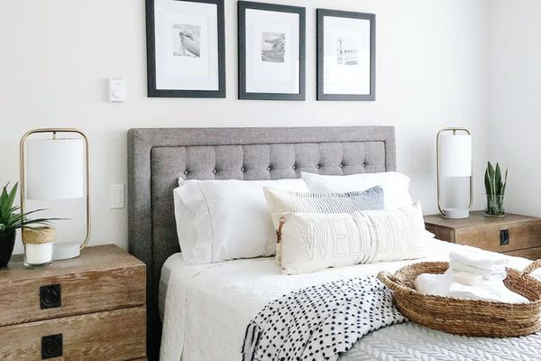Guest room with white walls and artwork