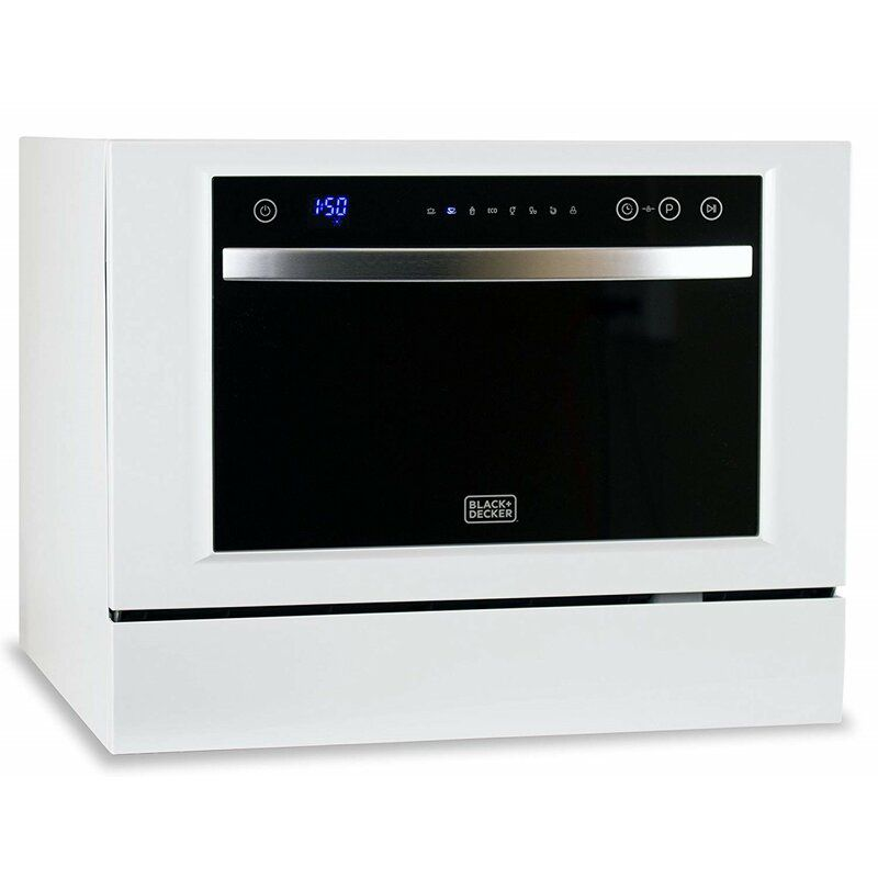 The BLACK+DECKER BCD6W Compact Countertop Dishwasher has a sleek design and LED displays.