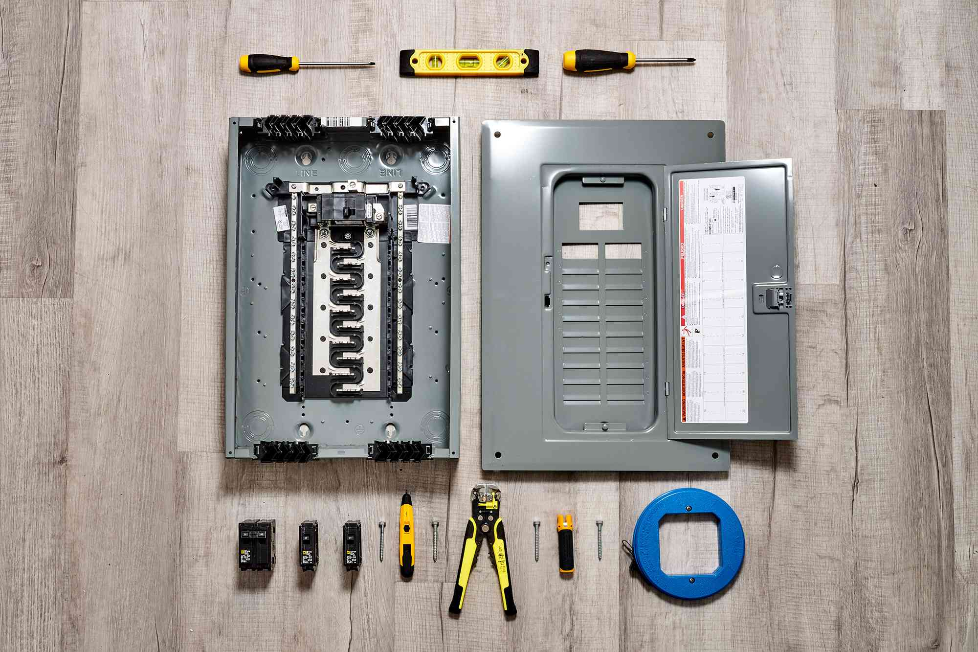 Materials and tools to wire an electrical circuit breaker panel