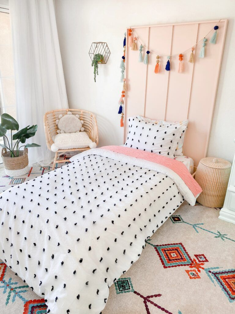 A twin-sized platform bed in a child's room