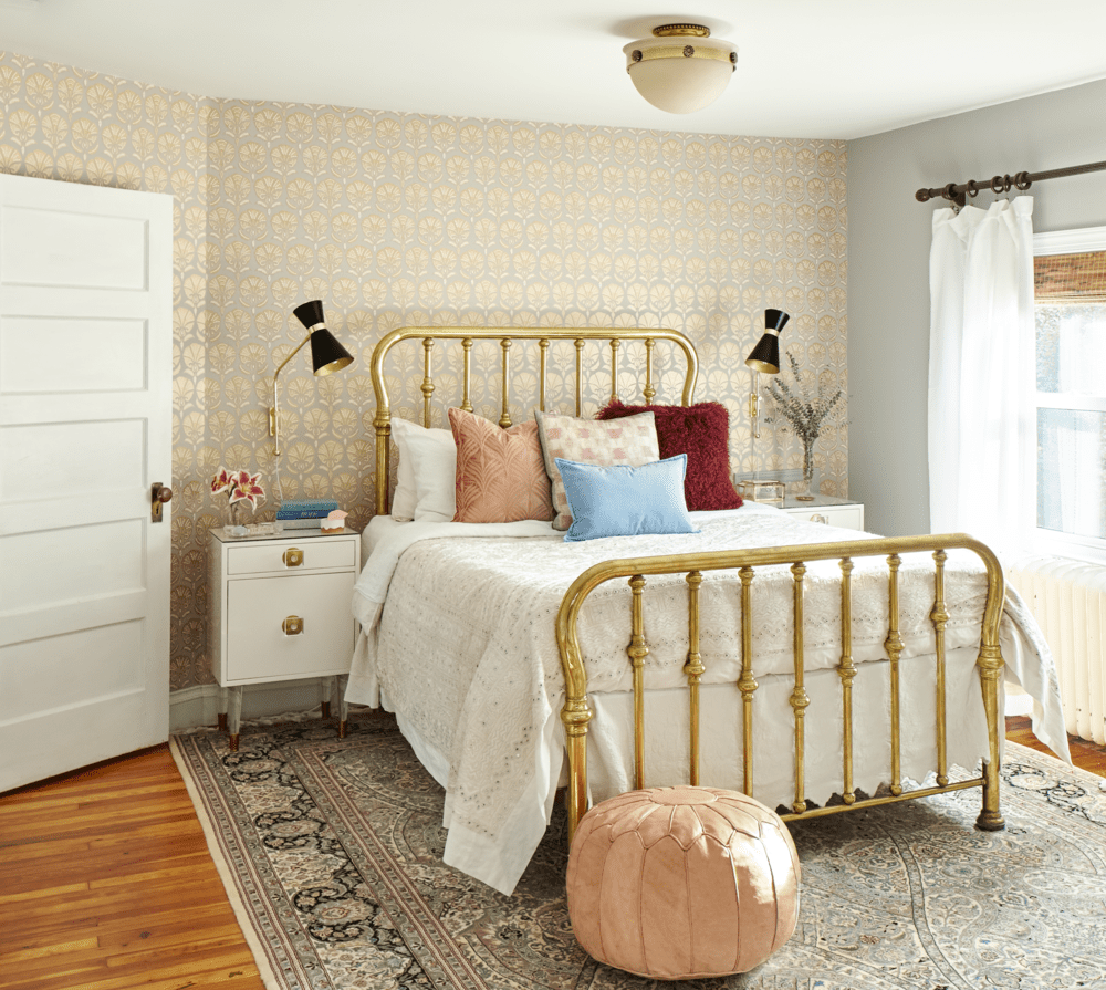 pair light gray walls with wallpaper