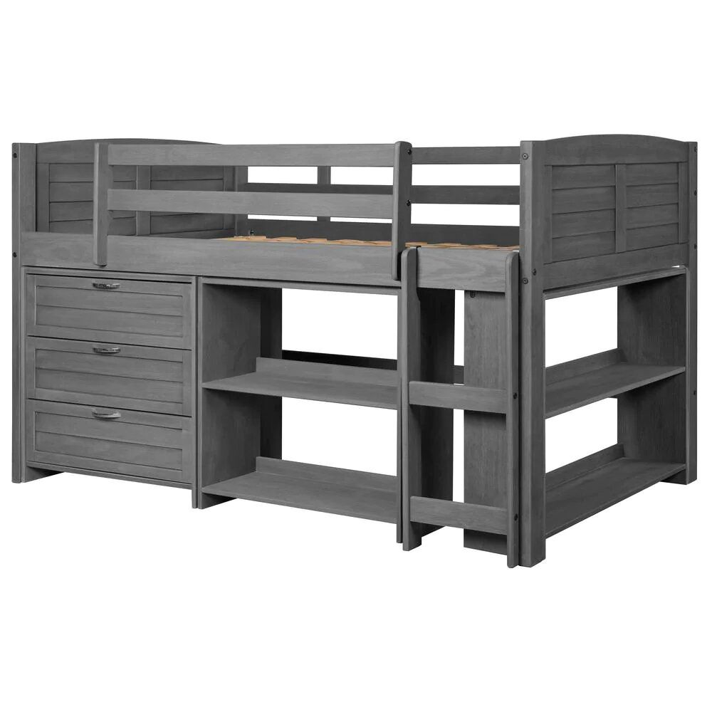 Donco Kids Low Loft Bed with 3-Drawer Chest and 2-Books