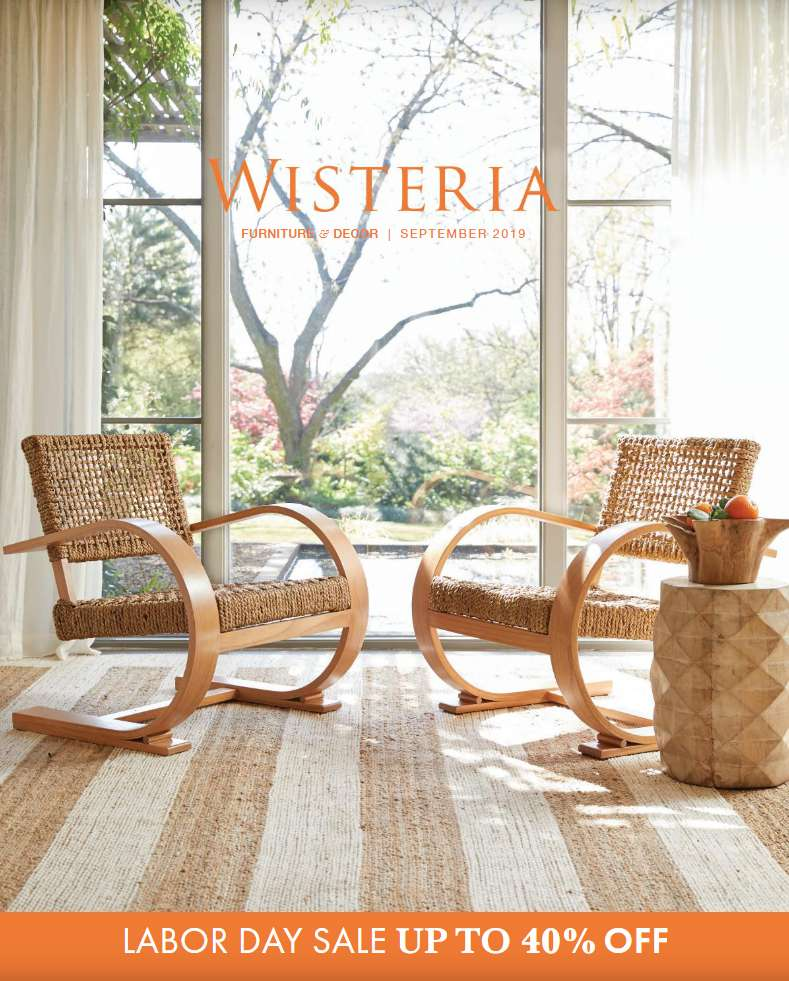 The cover of the September 2019 Wisteria catalog featuring chairs in a living room