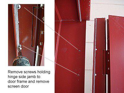 A diagram of removing screen door frame screws
