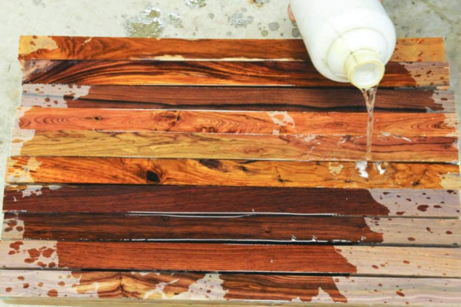 Freshly stained specialty hardwood