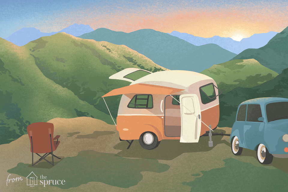 glamping trailers illustration