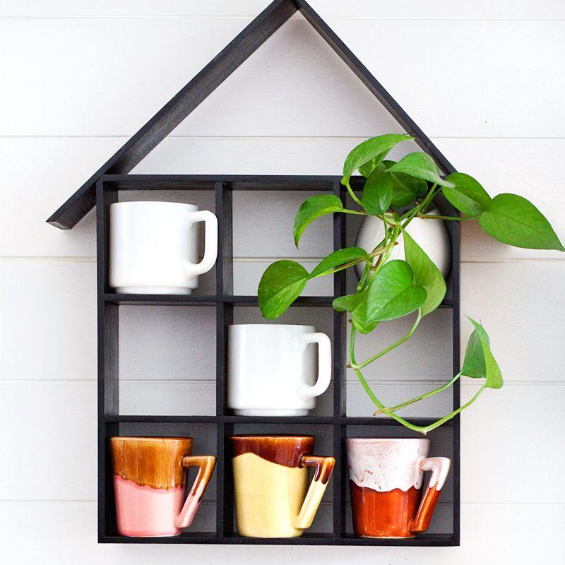 DIY House Shaped Mug Shelf