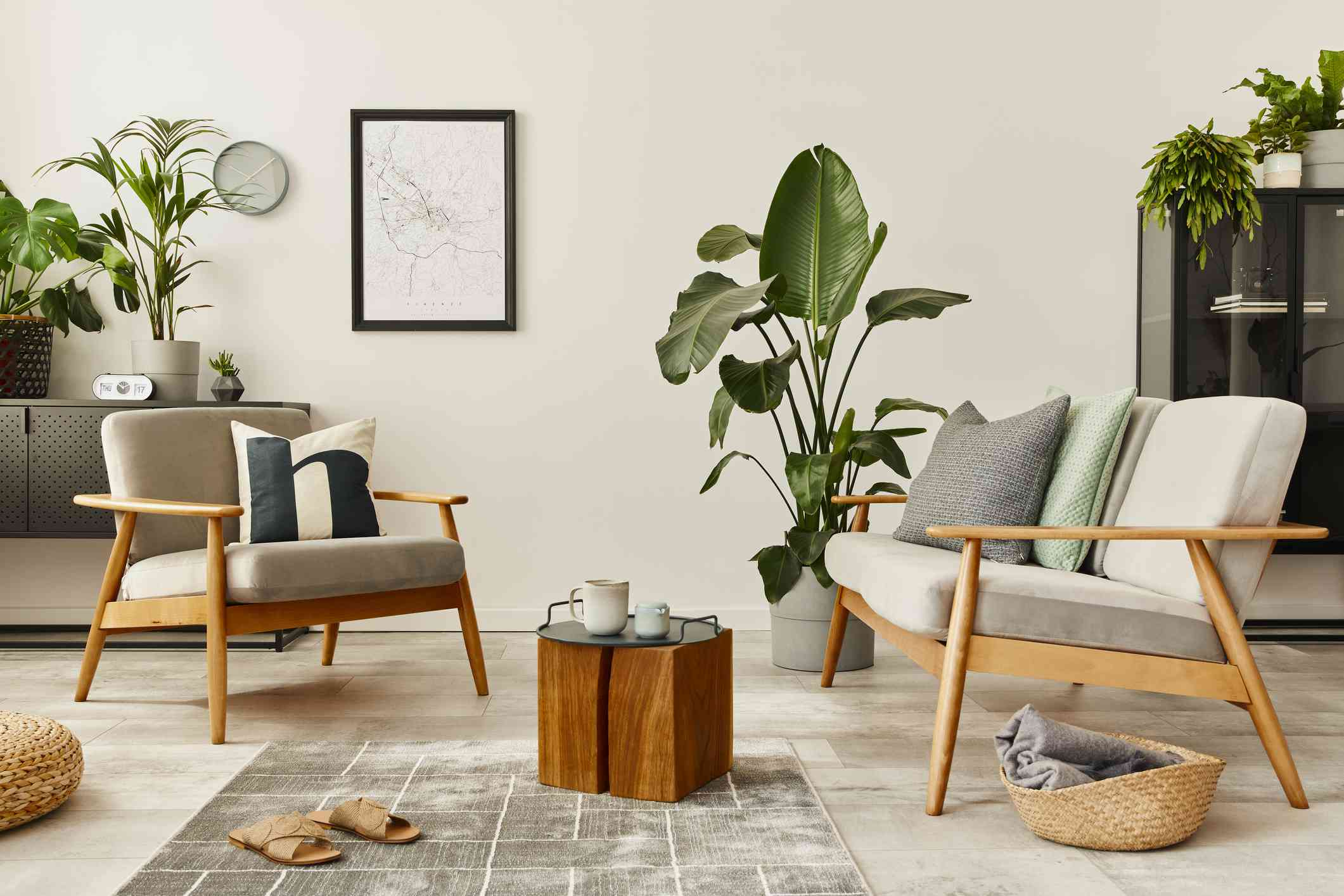 A natural living room with plants