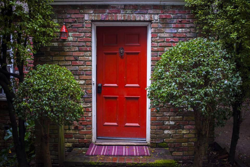 Red six paneled front door