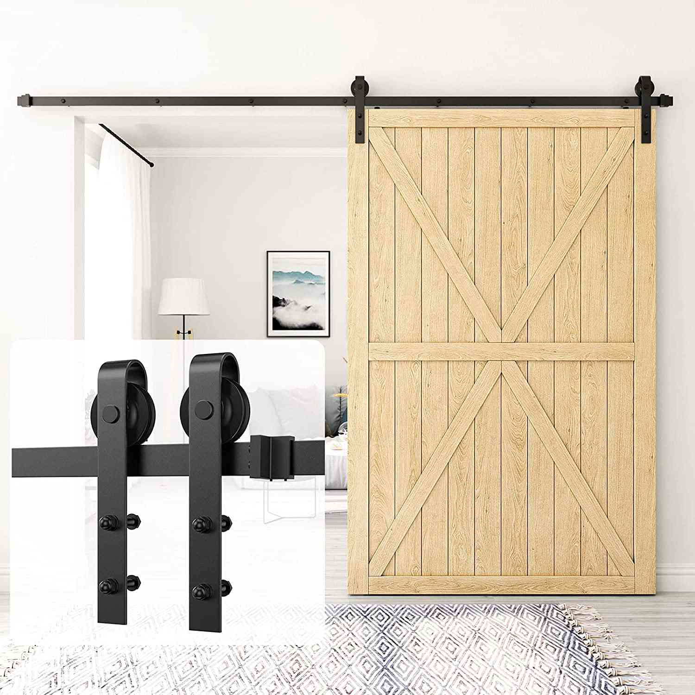Homlux 12 ft Heavy Duty Sturdy Sliding Barn Door Hardware Kit