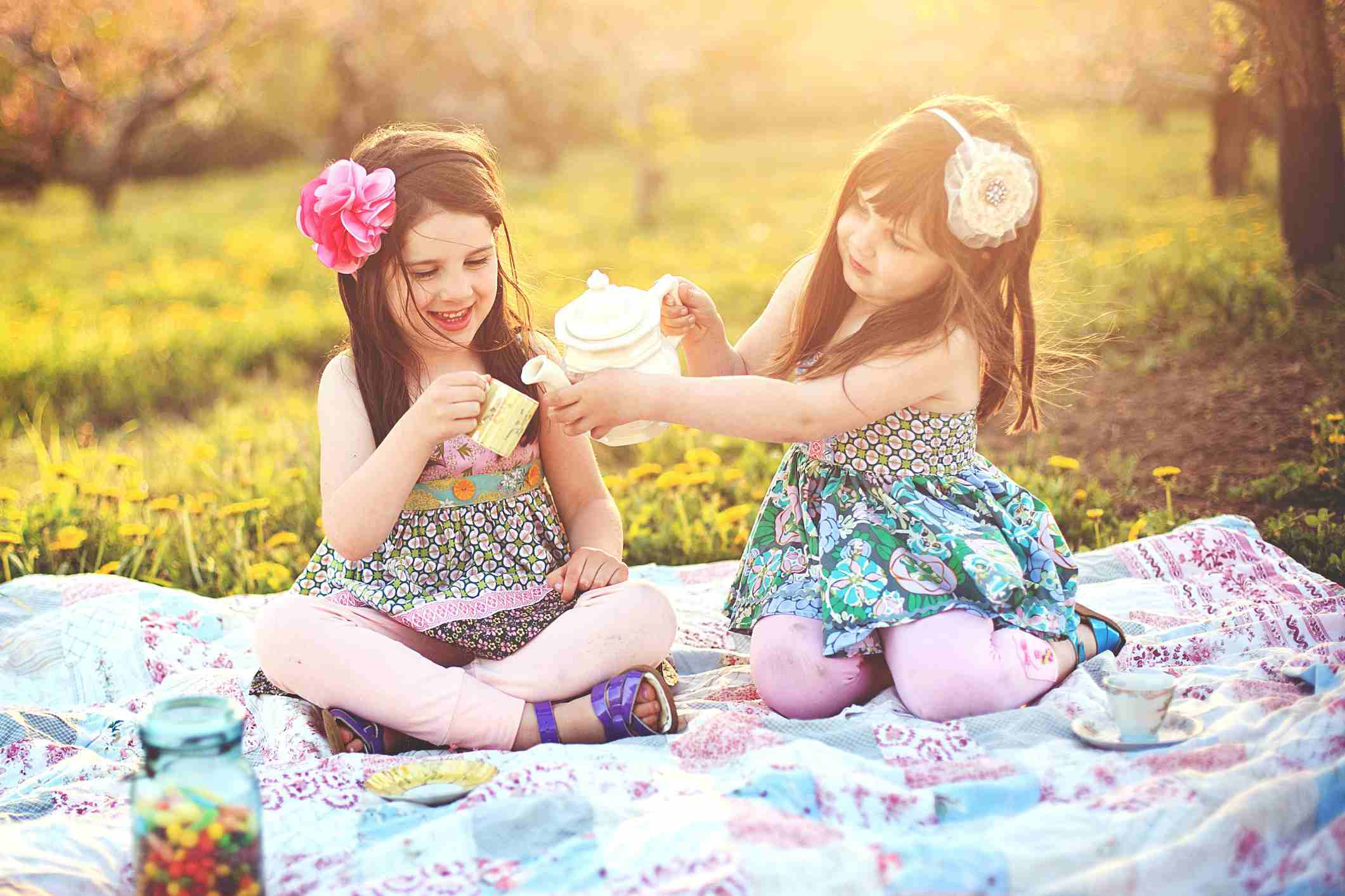 Young girls tea party flowers
