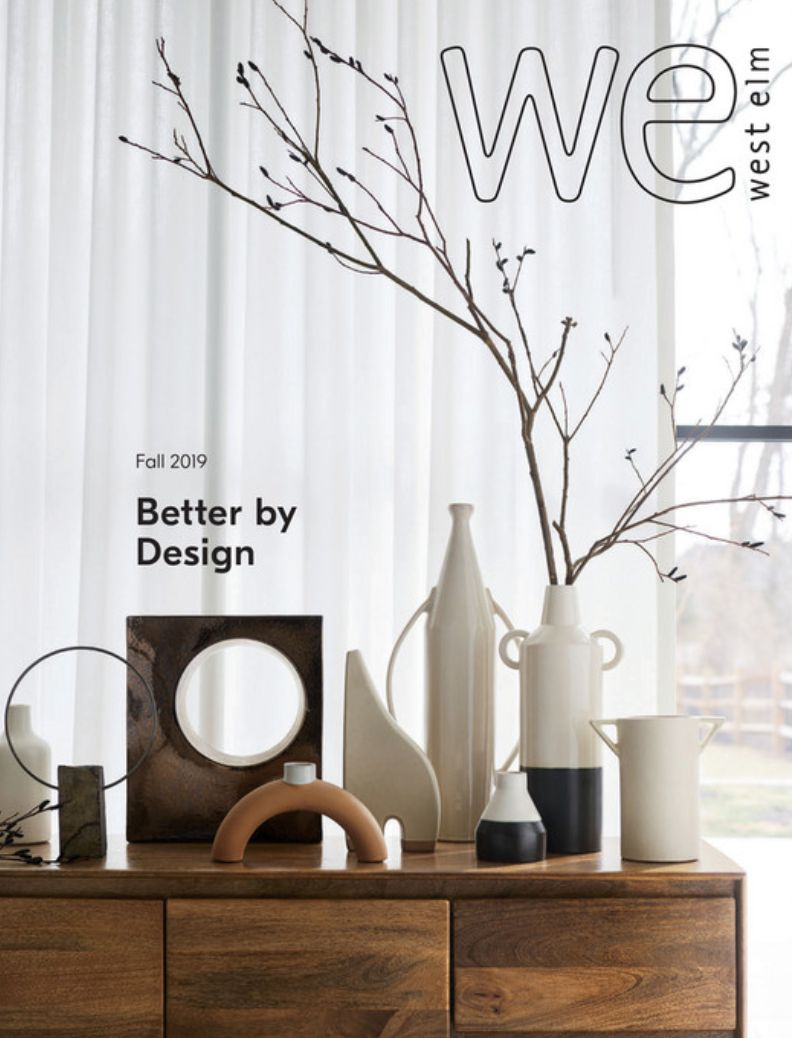 The cover of the Fall 2019 West Elm catalog featuring a dresser with vases