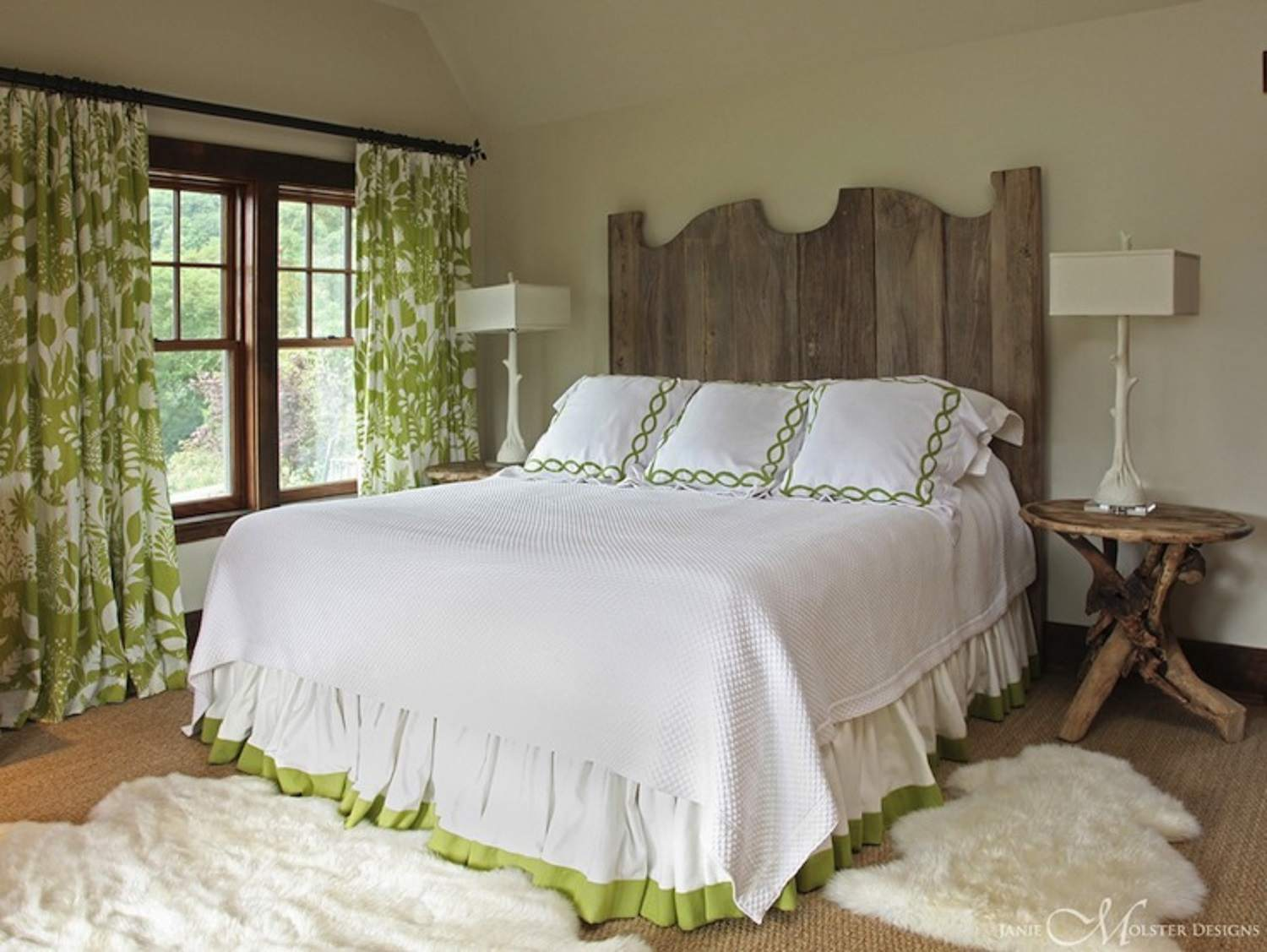 Green and white rustic bedroom