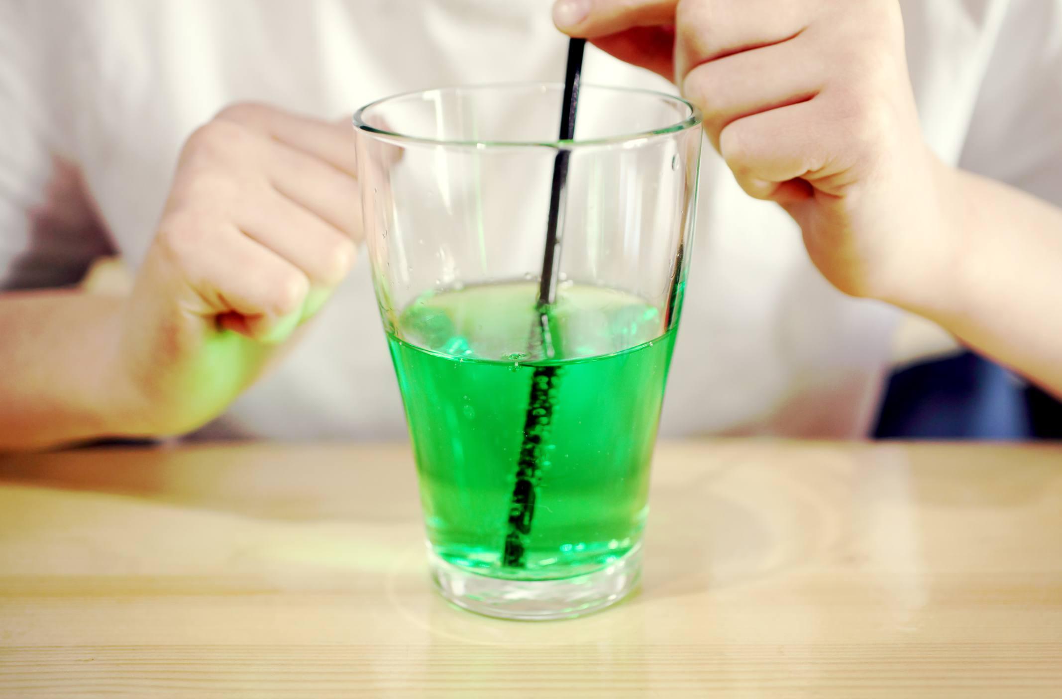 Glass of green soda